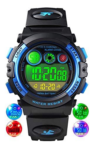 Orologio da bambini per ragazzi, orologio da polso impermeabile da 5 ATM con 12/24H/sveglia/EL,...