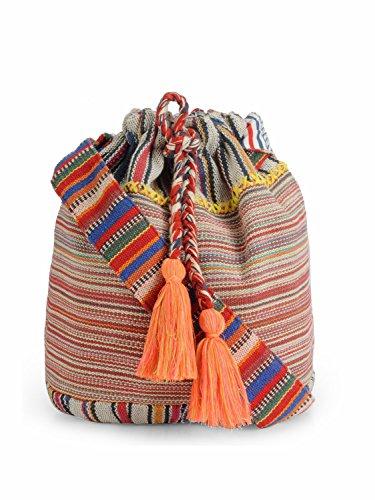The House of Tara Women's Handloom Fabric Crossbody Shoulder Bucket Bag (Multicolour)