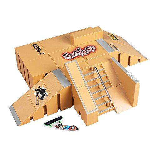 KidsHobby 8PCS Kit de Rampas Skatepark del Patin Mini Dedo Monopatin Patín del Dedo Fingerboards Parques Tablero Juguete Divertido Regalo Creativo para Niños(8 Pieza del Parque+2 Mini Patín del Dedo)