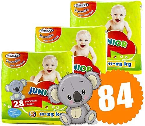 Maury's 84 Pannolini Junior Taglia 5 11-25kg Super Assorbenti Anatomici Sempre Asciutti Ipoallergenici 3 Confezioni da 28 pz Ciascuna