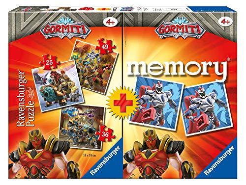 Ravensburger 20519 - Gormiti Multipack Memory con 3 Puzzle, Gioco Educativo