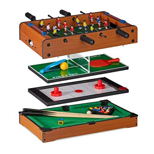 Relaxdays, Tavolo Multigioco, 4 in 1, Biliardino, Ping Pong, Hockey & Biliardo, Bambini & Adulti,...