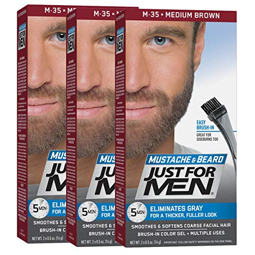 Just for Men Brush in Color Gel Mustache & Beard Medium Brown M-35 1 kit (Pac...