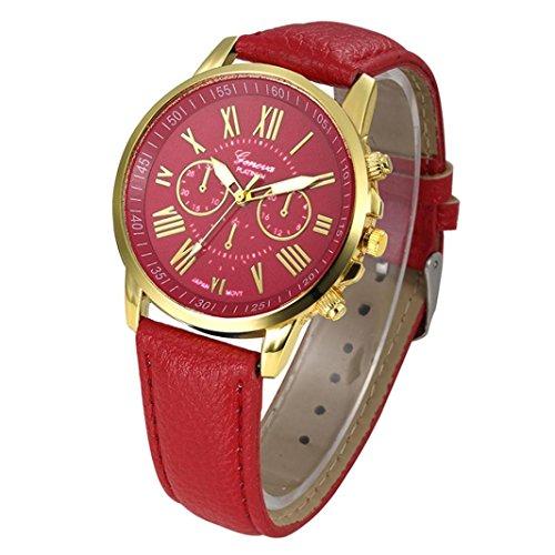 mujeres reloj de pulsera–kingwo Nueva Mujer Mode Ginebra Números Romanos Faux piel analógico de cuarzo reloj de pulsera (Rojo)