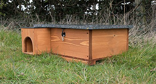 The Riverside Woodcraft Hedgehog House Golden Brown is a remarkable dwelling for hogs, offering plenty of protection against wet weather and cold, not to mention a tight secure home that predators can't access. This house is handmade in the UK using solid wood that is both weatherproof and insulating with a durable resin bonded floor increasing the warmth within. It also helps to avoid damp and that guarantees a long lifespan of this house.