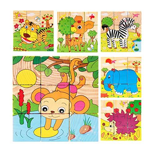 WDYJMALL 9 Pezzi Puzzle di Legno Puzzle 3D cubo Giocattolo per Bambini Bambini Ragazzi Ragazze -...