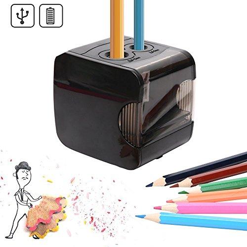 Oladwolf lektrischer Anspitzer,automatischer Bleistiftspitzer Elektrisch mit,Batterie und USB Betrieben,2 Löchern und Automatischer Funktion,Perfekt für Den Gebrauch zu Hause oder Büro Und schule