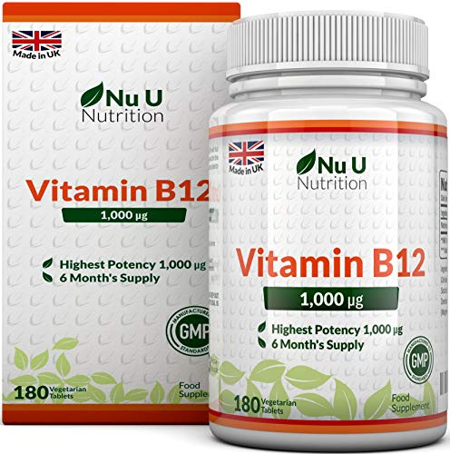 Vitamin B12 Methylcobalamin 1000 mcg - 6-Monats-Versorgung - 180 Tabletten - Nahrungsergänzungsmittel von Nu U Nutrition