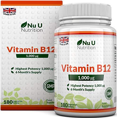 Vitamina B12 (Metilcobalamina) da 1000mcg 180 Tavoletta | Compresse Sublinguali (Da Sciogliere Sotto La Lingua) | La Forma Di Vitamina B12 Con Massima Biodisponibilità | Integratori alimentari Nu U Nutrition