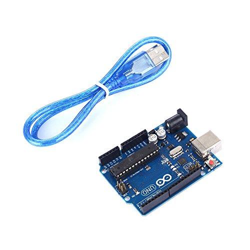 Arduino Uno Rev3 è una scheda elettronica basata sul microcontrollore Atmega328.   Dispone di 14 ingressi/uscite digitali (di cui 6 possono essere utilizzate come uscite PWM), 6 ingressi analogici, un cristallo oscillatore a 16 MHz, una conne...