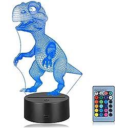 Linkax 3D LED Luz de Noche Ilusión óptica Lámpara de Mesa Luz iluminación 7 Colores de Control Remoto con Acrílico Plano & ABS Base & Cargador USB (Dinosaurio)