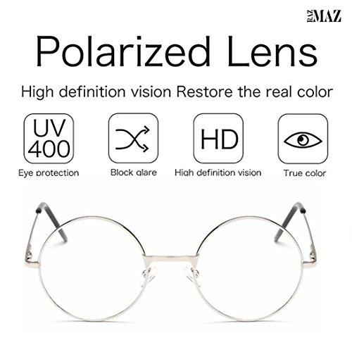 Razmaz Round Sunglasses Retro Metal Frame Eyeglasses Korean Clear ...