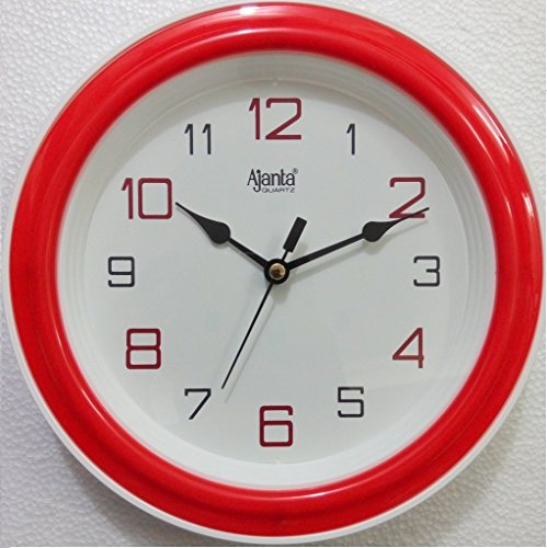 Ajanta Quartz Plastic Round Shape 20.5 cm X 20.5 cm Fancy Simple Small Size Home Decor Wall Clock (Red) For Home And Office