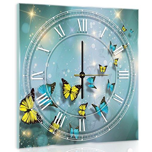 Delester Design cgb10225g7mariposas azules y amarillos Reloj de pared de cristal (déco-vitre) vidrio, multicolor 40x 40x 4cm)