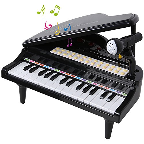 SGILE Infantil Mini Piano Teclado Juguete con micrófono, 31 teclas de piano en blanco y negro, 26 teclas de función, instrumento educativo con luces y Canciones de Música, Teclado Electrónico Piano Musical Regalo para Niños Niñas Negro