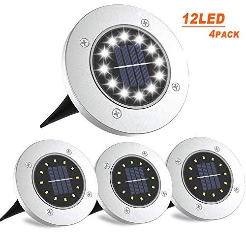 Luci Solari Giardino 12 LED Lampade Luci Led Solari da Esterno, LED Luce Sepolta Solare IP65...