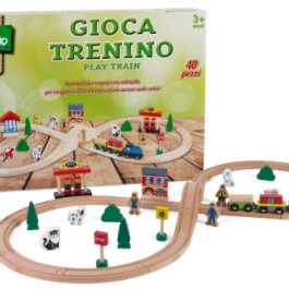 Legnoland 36573 – Pista Treno in Legno, 40 Pezzi