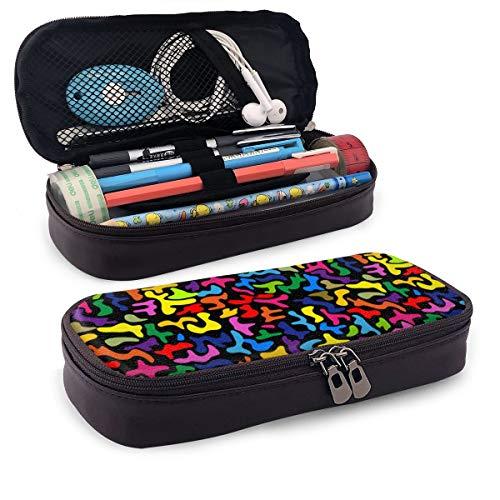 Iop 90p Color Psychedelic 80s Storage Pouch Pouch Organizer Trousse Trousse da Viaggio, PU, Nero,...