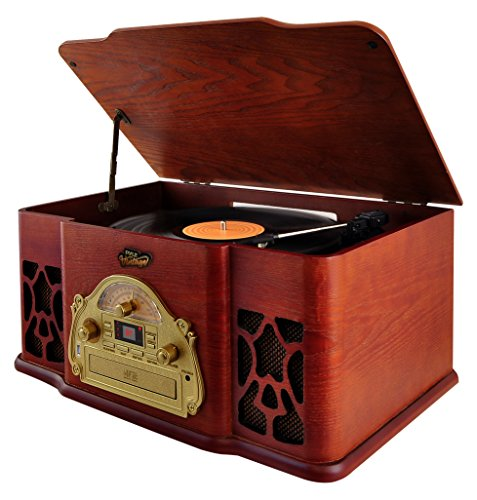 Pyle Vintage Vinyl Turntable Stereo System with Bluetooth Compatible CD USB SD Card Player with USB Recorder , Brown (PTCD64UBT)