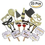 LUOEM 2018 Photo Booth Props New Year Photo Booth Glasses Moustache Red Lips Bow Ties On Sticks for New Year Party Decor 23pcs