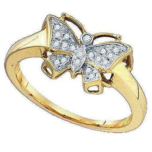 0,07quilates (de quilate) 10K oro amarillo redondo blanco diamante señoras novia mariposa mano derecha anillo