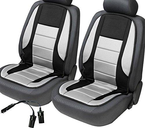 2x beheizbare Sitzauflage/Sitzheizung Hot Stuff + Doppelsteckdose für 12V Zigarettenanzünder (schwarz/grau)
