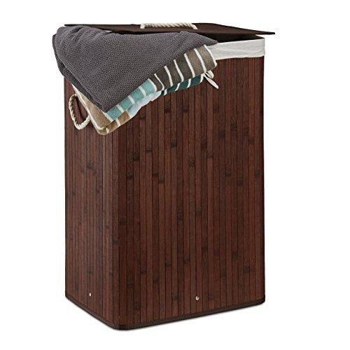 Relaxdays Wäschekorb Bambus, faltbare Wäschetruhe rechteckig, 83 L Volumen, H x B x T: ca. 65,5 x 43,5 x 33,5 cm, weiß