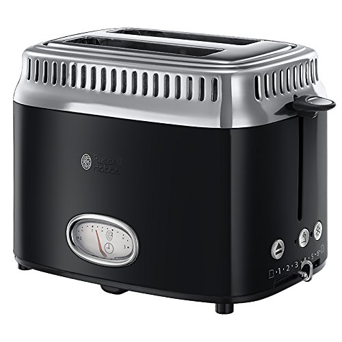 Russell Hobbs Retro Collection Tostapane, 1300 W, Acciaio Inossidabile, 2 Scomparti, Nero