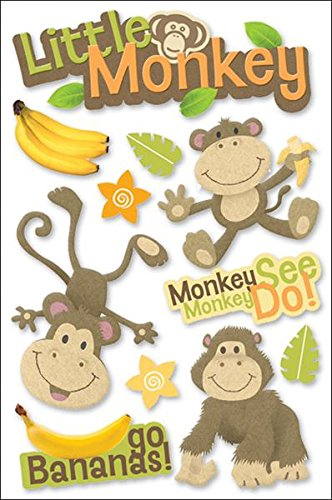 Paper House Productions STDM-0050E 3D Cardstock Stickers, Little Monkey (3-Pack)