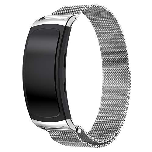 Uatone Cinturino in Metallo per Samsung Gear Fit 2, Cinturino di Ricambio Cinturino in Maglia Metallica in Acciaio per Gear Fit2 SM-R360 / Gear Fit2 PRO SM-R365 (Argento)