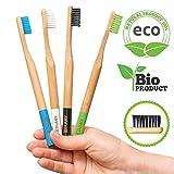 Spazzolino bamboo, spazzolini da denti bambu ecologico per lo sbiancamento dei denti , 100% biodegradabili, naturali e vegani. Pacco da 4 spazzolini a setole morbide, naturali di carbone e vegetali
