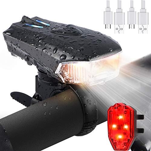 WOSTOO Luci per Bicicletta, Luce della Bici del LED, Set di luci per la Bicicletta USB con 5 modalità Luce, Luce Bici Anteriore e Posteriore Super Luminoso Luce Bici LED per Bici Strada e Montagna