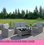 Abreo Rattan Garden Furniture Patio Conservatory New 4 Seater Wicker Weave Algarve Sofa Set (Solid Light Grey and Light Cushions)