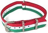 Nato Zulu G10stile orologio da polso modello della bandiera italiana e fibbia in acciaio INOX, 18mm