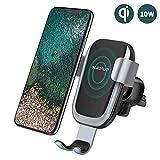 steanum Qi Handy Halterung für Auto,Induktions Autohalterung Air Vent Phone Holder Kompatibel für iPhone XS Max/Xs/Xr/X/8/8Plus,Samsung Note 5/8, Galaxy S9/S8//S7/S6, Schwarz