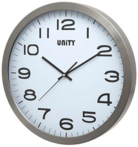 Unity Manhattan Orologio da Parete in Metallo, Argento, 40x 40x 3cm