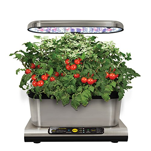 AeroGarden Miracle-Gro Harvest Elite con Gourmet Herb Seed Kit, Acciaio Inossidabile, 25 x 17 x 30 cm