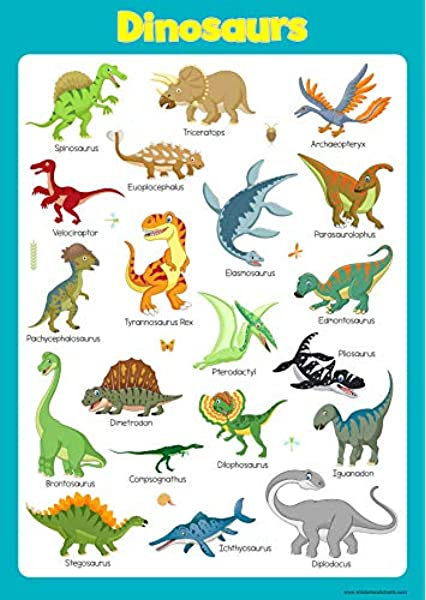 Learn Dinosaurs Wall Chart Educational Toddlers Kids Childs Poster Art Print Wallchart Amazon Co Uk Office Products