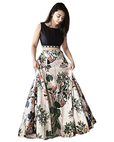 Shsarees Women's Crepe Silk Dress (SHS-108_Multicolor_Free Size)