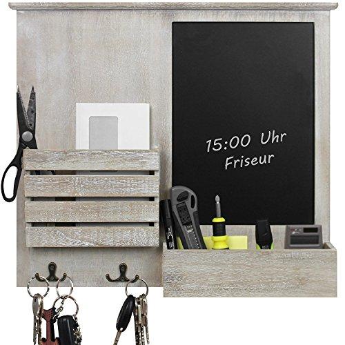 Organizer da parete con lavagna, ripiani e ganci in metallo, mensola da parete, lavagna per ufficio...