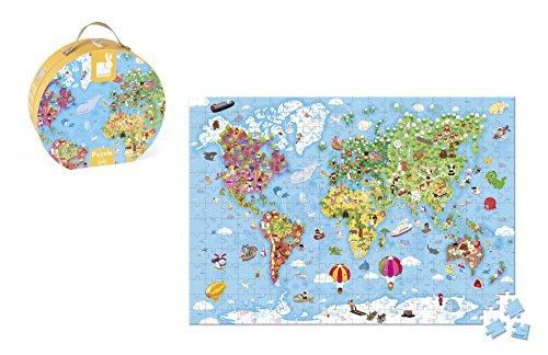Janod J02775 - Valigetta Rotonda Puzzle Gigante Mappa del Mondo, 300 Pezzi