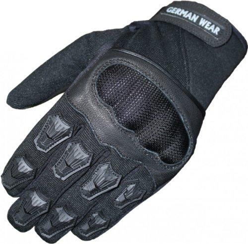 German Wear Motocross Motorradhandschuhe Sommer Motorrad Biker Handschuhe Textilhandschuhe Schwarz 1