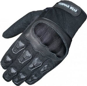 German Wear Motocross Motorradhandschuhe Sommer Motorrad Biker Handschuhe Textilhandschuhe Schwarz 2