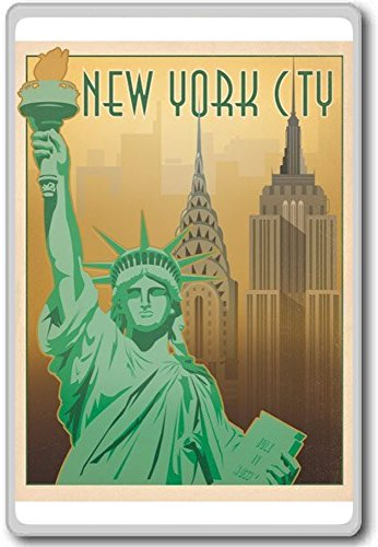 New York City USA - Vintage Travel Fridge Magnet - Calamita da frigo