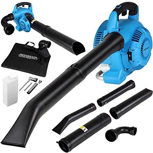 Monzana® aspirador soplador   3 en 1   Gasolina   26 ccm, bolsa 45L, incluye juego de herramientas con vela Llave + Cruz atornillador   soplador de hojas