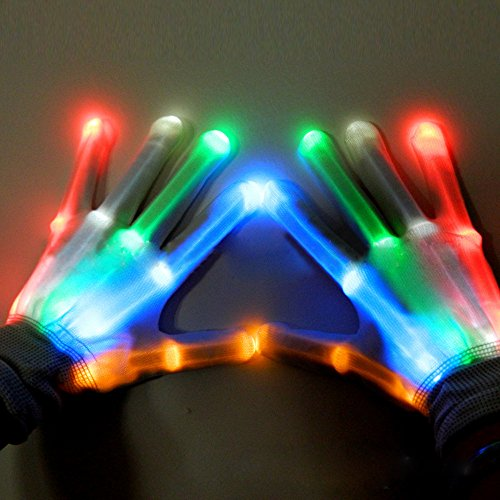 Alxcio Guanti con luci a LED colorate e lampeggianti, per discoteche, feste, compleanni, sale da...