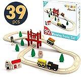 Tiny Land Circuit Train Enfant,Trains et véhicules & Rails Pack(39 pcs), Compatible avec Brio
