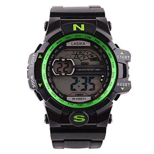 Hombre al aire libre impermeable de los deportes relojes militares Digital Display con brújula/alarma/cronómetro para estudiar, viajar, escalada, senderismo, color verde
