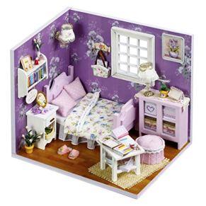 NROCF Bricolaje De Madera Casa De Muñecas Habitación Dulce Púrpura - Miniatura Hecha A Mano 3D Dollhouse Juguetes Educativos Regalo De La Muchacha Feliz Navidad