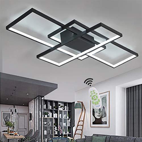 Wohnzimmerlampe LED Deckenleuchte Dimmbar Deckenlampe mit Fernbedienung, 80W Schlafzimmerlampe Modern Decke Aluminium Pendelleuchte Design Lampen Esszimmerlampe Bürolampe Küchelampe (Schwarz, 90×50CM)
